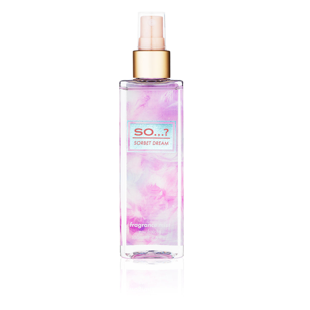 so? sorbet dream fragrance mist 100ml, sorbet dream fragrance mist, so fragrance, eau de parfum, fragrance mist, perfume, body mist spray, perfume collection, cruelty free, body mist vanilla, eau de parfum spray, body perfume, so perfume, perfume mist