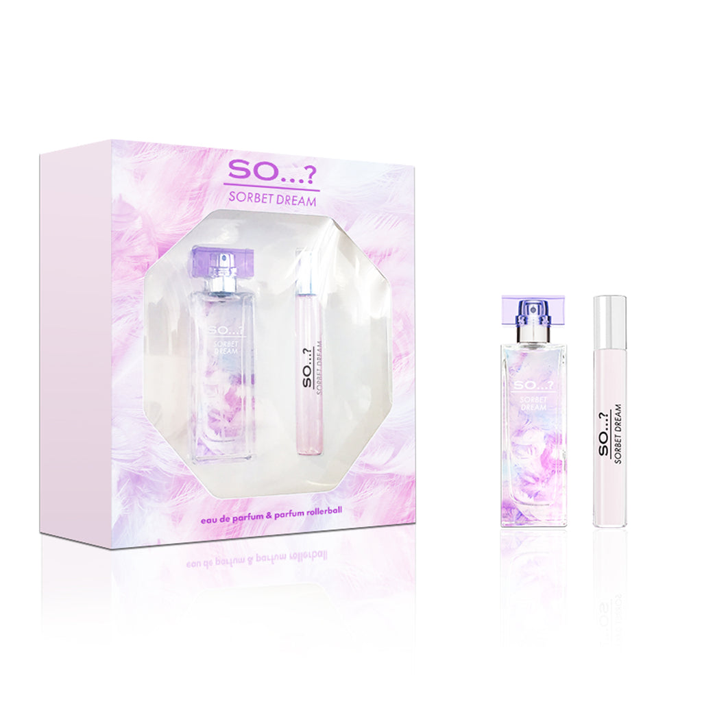 so...? sorbet dream catwalk duo, sorbet dream gift sets, perfume gift sets, perfume gift sets for her, perfume sets,  ladies perfume gift sets, gift sets for her, perfume gifts, perfume rollerball, eau de parfum, womens perfume gift sets, womens perfume,