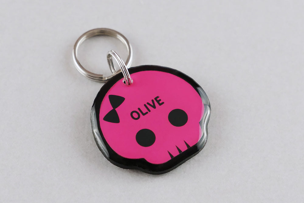 Cute Punk Skull Pet ID Tag - Pixsqueaks