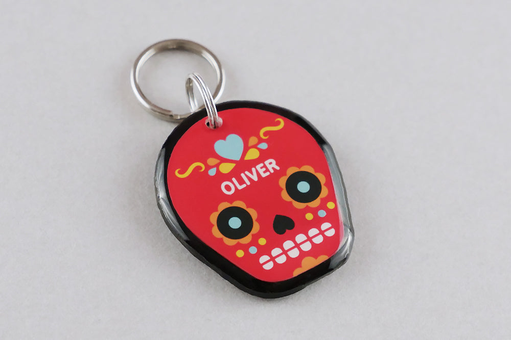 Day of the Dead Skull Pet ID Tag - Pixsqueaks