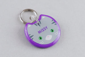 Gray Tabby Cat ID Tag - Pixsqueaks
