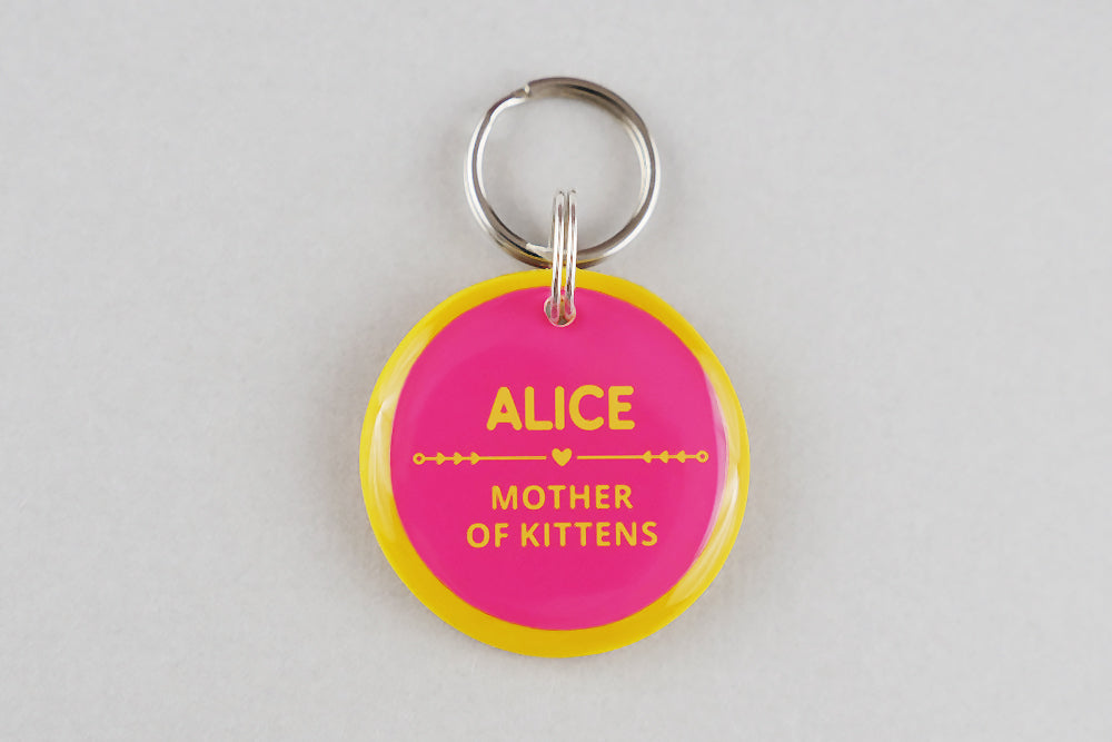 Mother of Kittens Cat ID Tag - Pixsqueaks