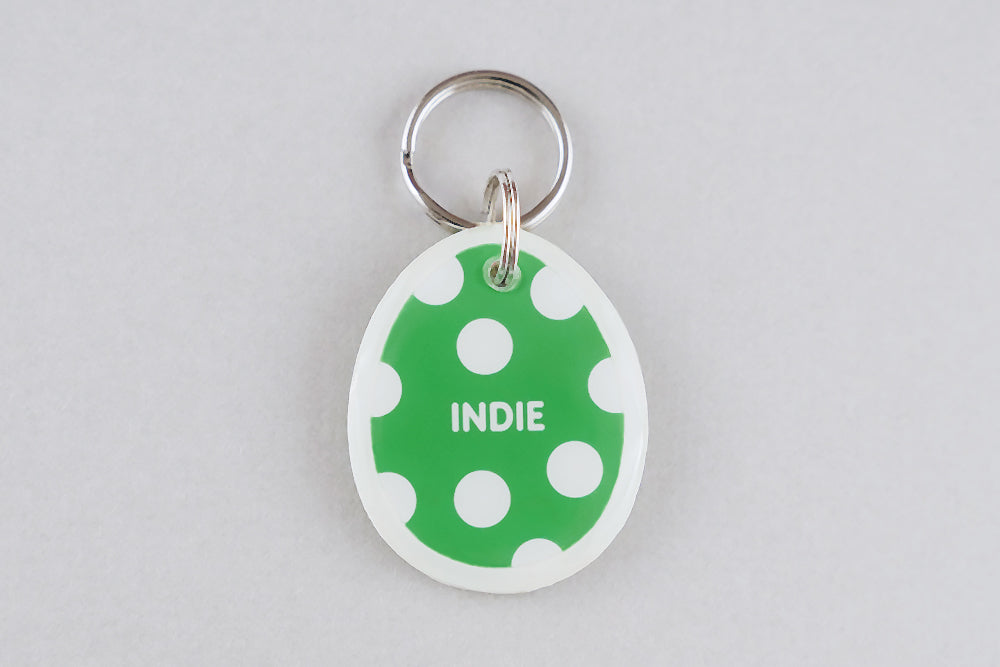 Polka Dot Egg Pet ID Tag - Pixsqueaks