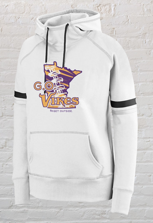 WOMEN'S WHITE OUT VARSITY G.O. VIKES HOODIE