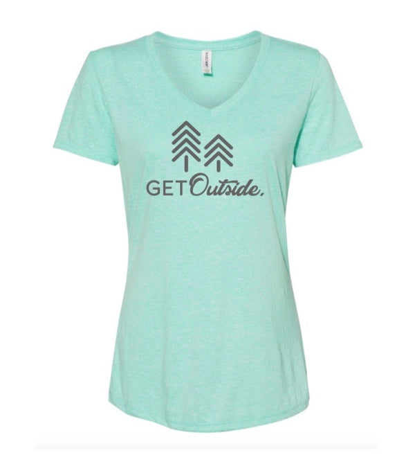 MINT HEATHER V-NECK TEE