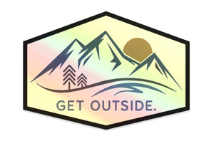 GET OUTSIDE HOLOGRAPHIC MOUNTAIN STICKER