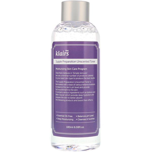 Klairs Supple Preparation Unscented Toner - 180ml, Toner, Klairs, Korean Skincare & Beauty South Africa - Korean Beauty South Africa Kbeauty Korean Skincare k beauty