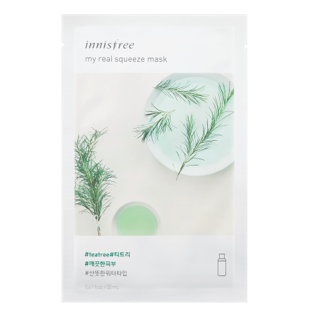 Innisfree My Real Squeeze Mask Tea Tree, Sheetmask, Innisfree, Korean Skincare & Beauty South Africa - Korean Beauty South Africa Kbeauty Korean Skincare k beauty