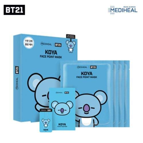 BTS X MEDIHEAL BT21 Face Point Mask Sheet + Postcard + Bookmark (01 KOYA)