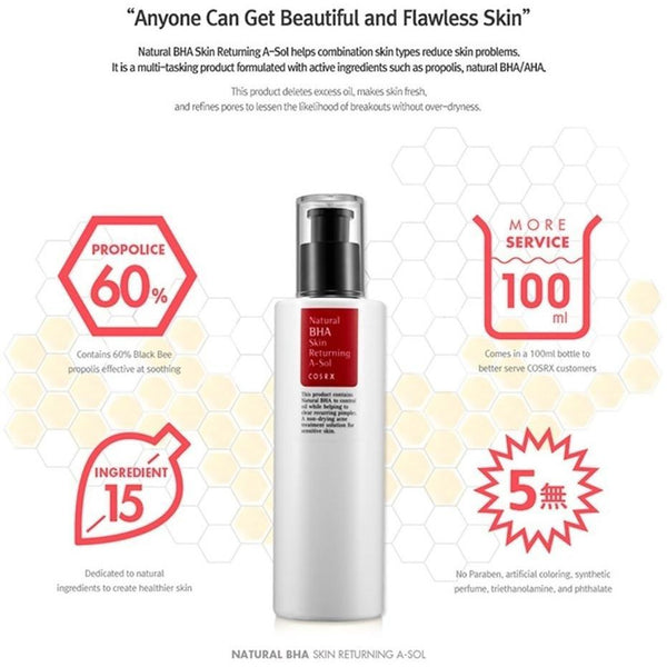 COSRX Natural BHA Skin Returning A Sol - 100ml Exfoliating, Toner, COSRX, Korean Beauty South Africa - Korean Beauty South Africa Kbeauty Korean Skincare k beauty