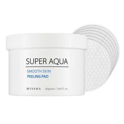 Missha Super Aqua Smooth Skin Peeling Pad - 1pack (60pcs), Exfoliator, Missha, Korean Skincare & Beauty South Africa - Korean Beauty South Africa Kbeauty Korean Skincare k beauty