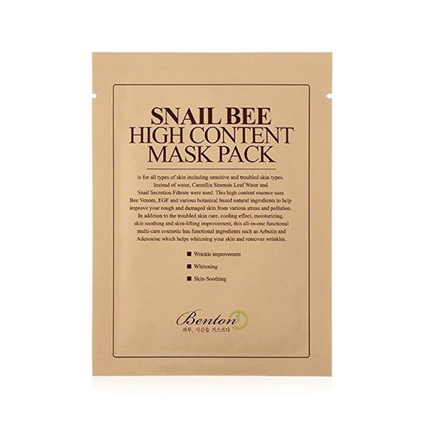 Benton Snail Bee High Content Mask Pack, Sheetmask, BENTON, Korean Skincare & Beauty South Africa - Korean Beauty South Africa Kbeauty Korean Skincare k beauty