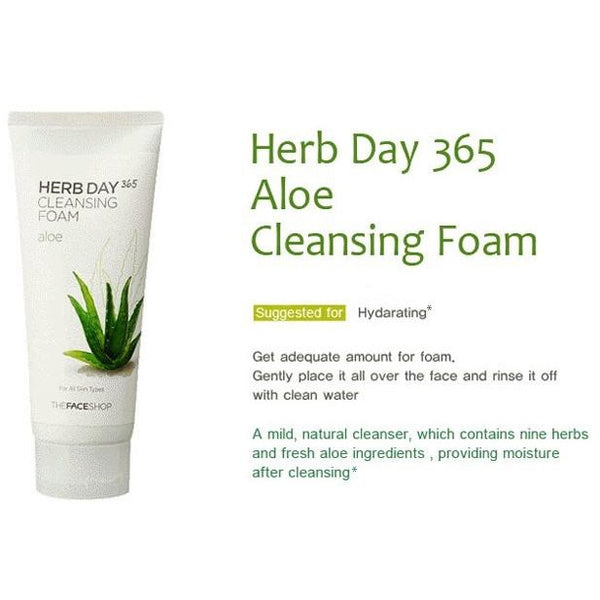 The Face Shop Herb365 Cleansing Foam Aloe 170ml, Cleanser, THEFACESHOP, Korean Beauty South Africa - Korean Beauty South Africa Kbeauty Korean Skincare k beauty