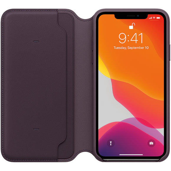Husa Apple iPhone 11 Pro Max Leather Folio Aubergine MX092ZM/A