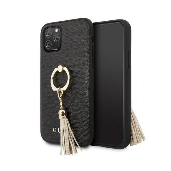 Husa Guess iPhone 11 Pro black hard case Saffiano with ring stand