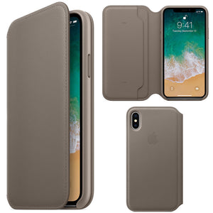 Husa Apple iPhone X Leather Folio Taupe