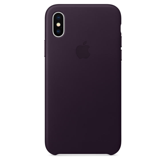Husa  Apple  Leather Case Dark Aubergine pentru iPhone X, MQTG2ZM/A