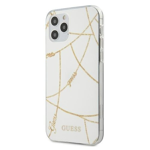 Husa Guess iPhone 12 Pro Max alb Gold Chain