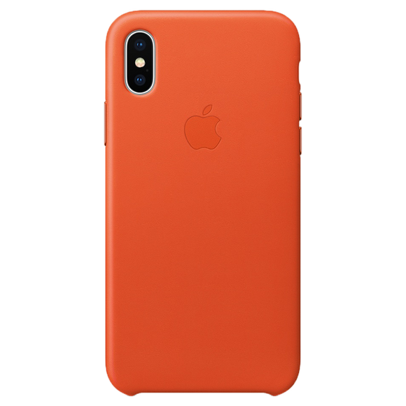 Husa Apple Leather Case Bright Orange  pentru iPhone X / XS