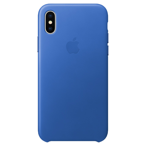 Husa Apple Leather Case Electric Blue pentru iPhone X / XS