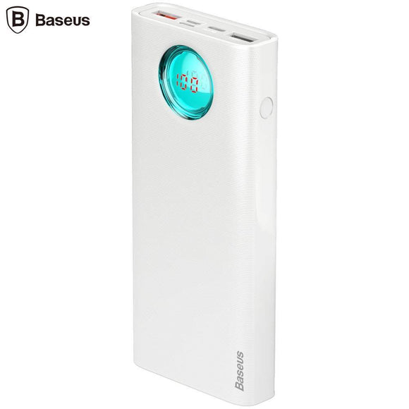 Baterie externa - Baseus Amblight 20000 mAh with LED Alb 18W - Trendmobile