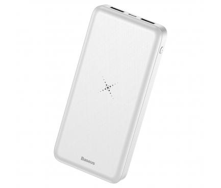 Baterie externa Baseus cu Incarcare Wireless, Power Bank Qi 10000 mAh, Alb - Trendmobile