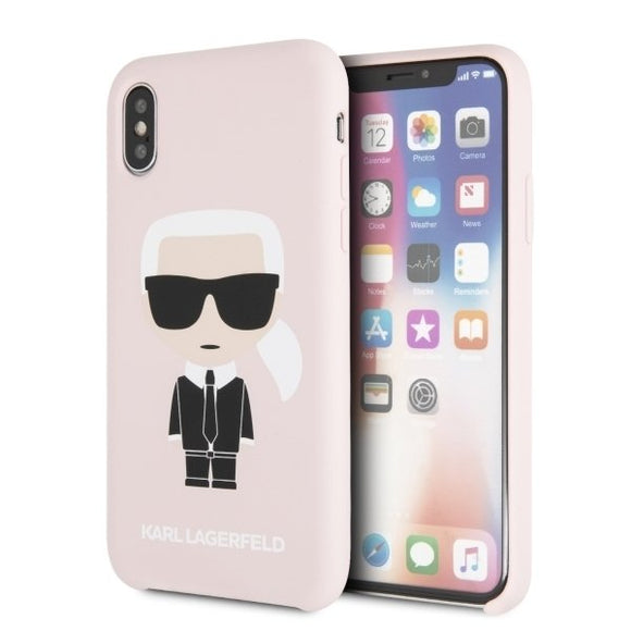 Husa  Karl Lagerfeld iPhone X/Xs hardcase light pink Silicone Iconic