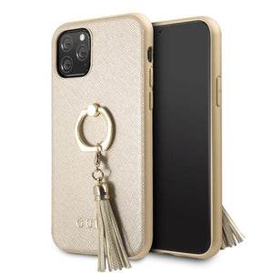 Husa Guess iPhone 11 Pro Beige Saffiano with ring stand