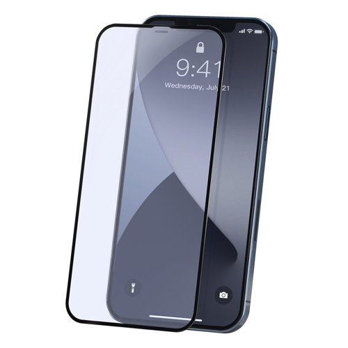 Baseus 2x Full screen 0,23 mm Anti Blue Light tempered glass with a frame iPhone 12 Pro / iPhone 12 Black