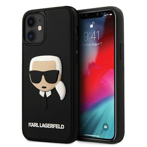 Husa Karl Lagerfeld iPhone 12 /12 Pro Negru Rubber Karl`s Head