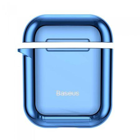 Husa Apple Airpods Baseus Shining Hook Cu Carabina Metalica De Prindere Blue - Trendmobile