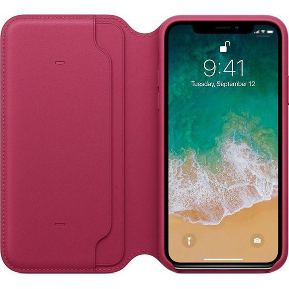 Husa Apple iPhone X Leather Folio Berry - Trendmobile