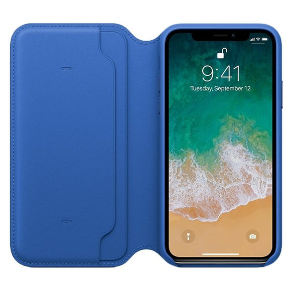 Husa Apple iPhone X Leather Folio Electric Blue - Trendmobile