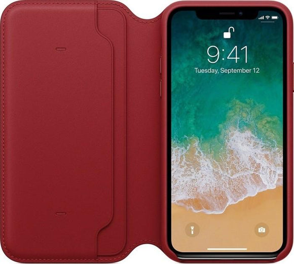 Husa Apple iPhone X Leather Folio Red - Trendmobile