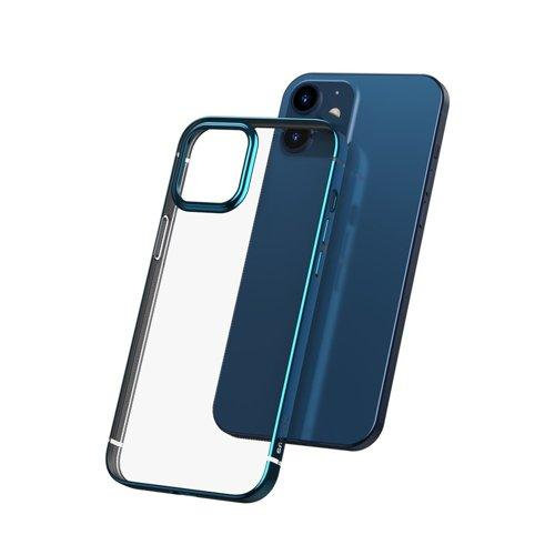 Husa Baseus Shining Case Flexible gel case with a shiny metallic frame iPhone 12 Pro / iPhone 12 Navy blue