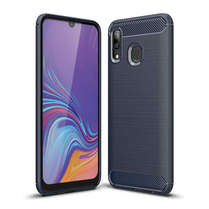 Husa Carbon Case Flexible Cover TPU Case for Samsung Galaxy A40 blue - Trendmobile