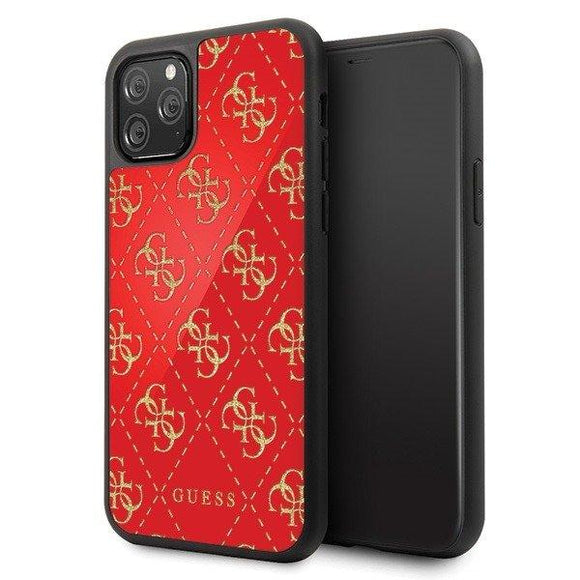 Husa GUESS HARD CASE 4G DOUBLE LAYER GLITTER IPHONE 11 RED - Trendmobile