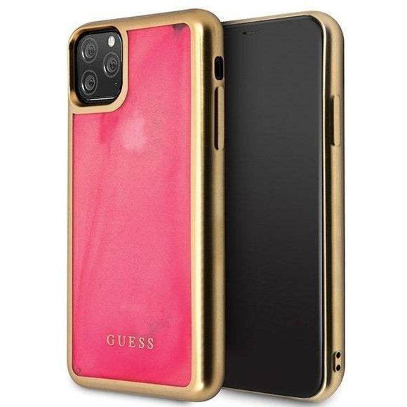 Husa GUESS HARD CASE SAND MATTE GLOW IN THE DARK IPHONE 11 PINK - Trendmobile