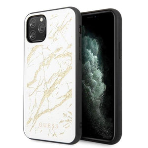 Husa Guess iPhone 11 Pro Max white hard case Glitter Marble Glass - Trendmobile