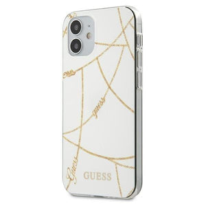 Husa Guess iPhone 12 5,4 white Gold Chain - Trendmobile