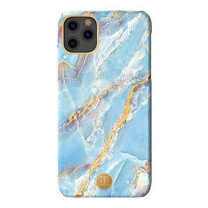 Husa iPhone 11 Pro Kingxbar Marble Series Design Marmura Placa metalica  Albastru - Trendmobile
