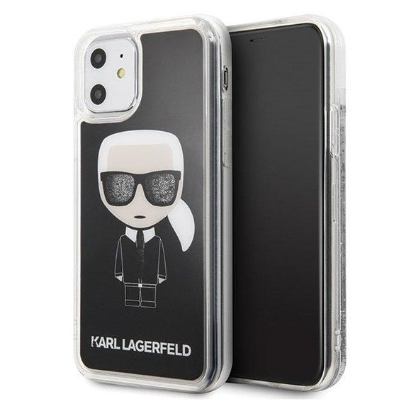 Husa Karl Lagerfeld iPhone 11 czarny/black Iconic Glitter - Trendmobile