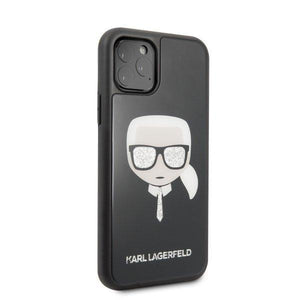 Husa Karl Lagerfeld iPhone 11 Pro Max black Iconic Glitter Karl`s Head