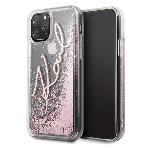 Husa Karl Lagerfeld iPhone 11 Pro rose gold Glitter Signature - Trendmobile