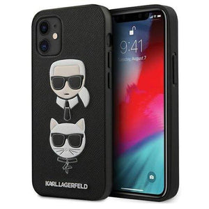 "Husa Karl Lagerfeld iPhone 12 mini 5,4"" black hardcase Saffiano Ikonik Karl&Choupette Head - Trendmobile"