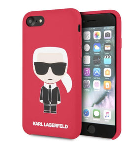 Husa KARL LAGERFELD SILICONE CASE ICONIC FULL BODY IPHONE 7 / 8 / SE 2020 RED - Trendmobile