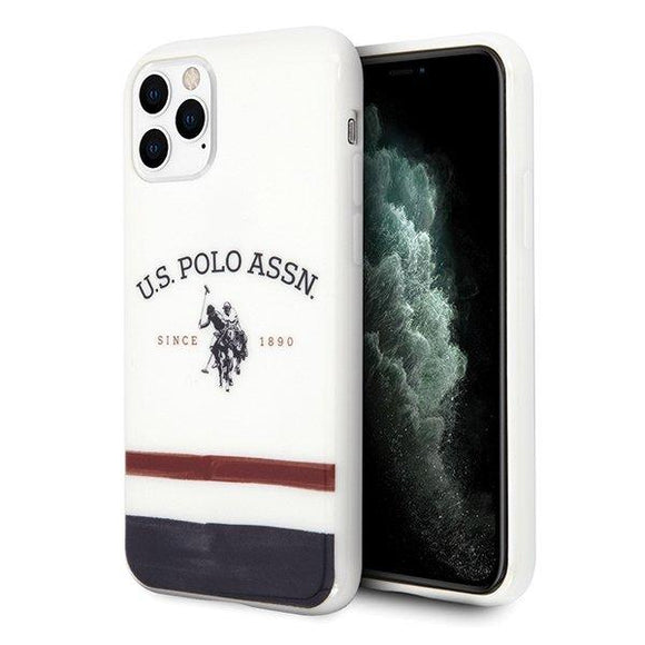 Husa US Polo iPhone 11 Pro white Tricolor Pattern - Trendmobile