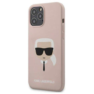 "Karl Lagerfeld iPhone 12/12 Pro 6,1"" light pink hardcase Silicone Karl`s Head - Trendmobile"