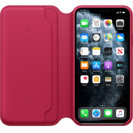 Husa Apple iPhone 11 Pro Max Leather Folio Raspberry red