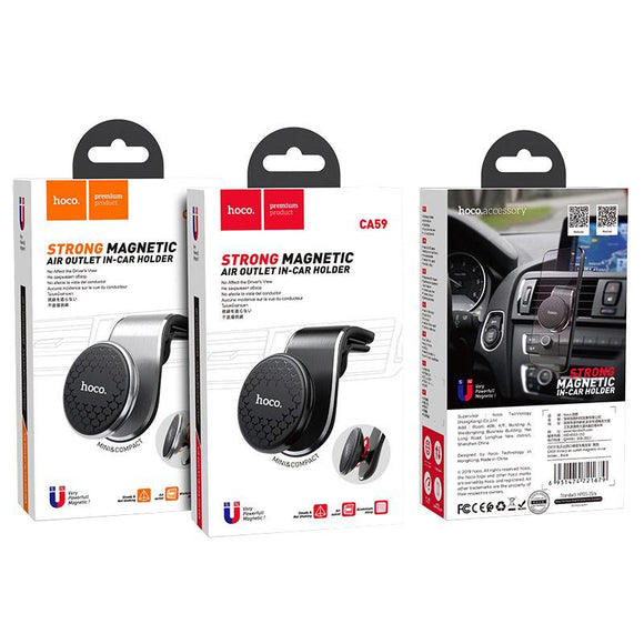 Suport Auto Hoco CA59 Strong Victory Magnetic In-car Phone Holder Pentru Grila De Ventilatie - Silver - Trendmobile